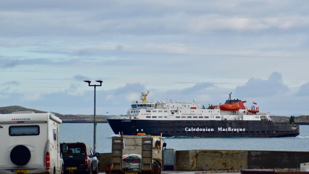 The MV Clansman passing the waiting traffic