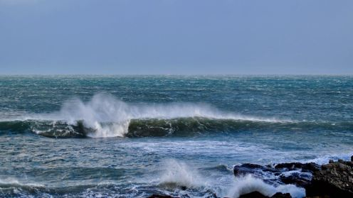 Waves and Spindrift close to Tiree's pier. Imagine the west facing coast.