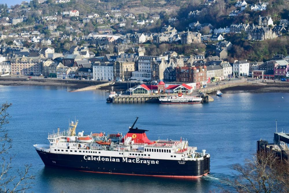 The MV Isle of Mull departing Oban Ferry Terminal for Craignure on Mull
