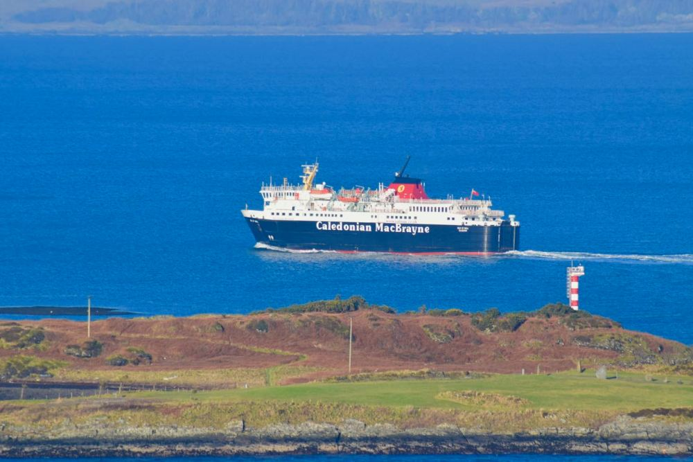 MV Isle of Mull from Pulpit Hill as she sails past the end of Kerrera