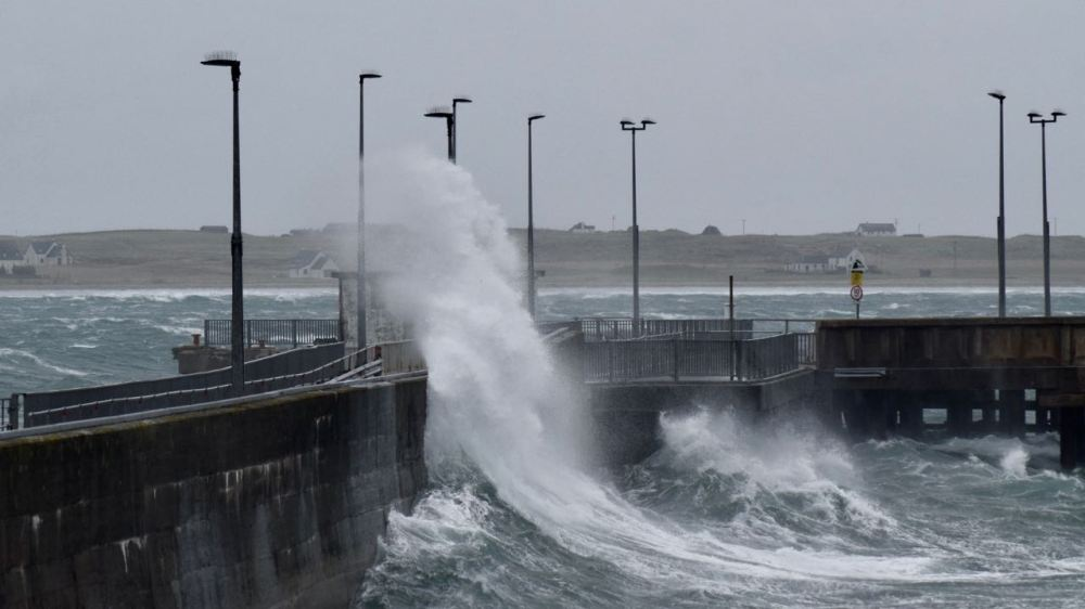 Waves lashing the pier