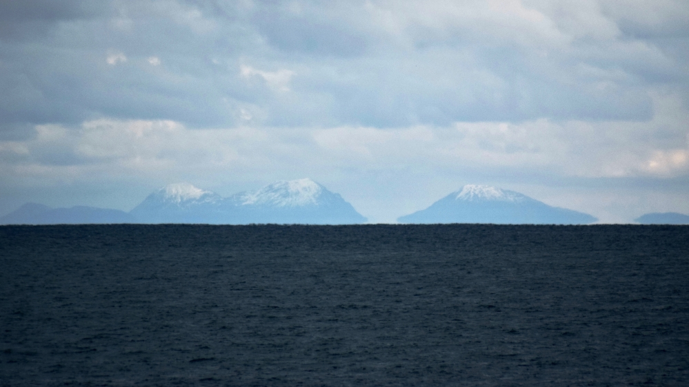 The Paps of Jura lie beyond Colonsay some 50 miles distant from Tiree