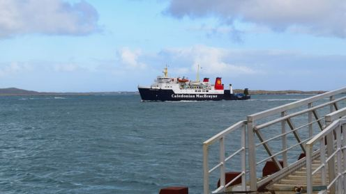The MV Hebridean Isles prepares to berth at Tiree