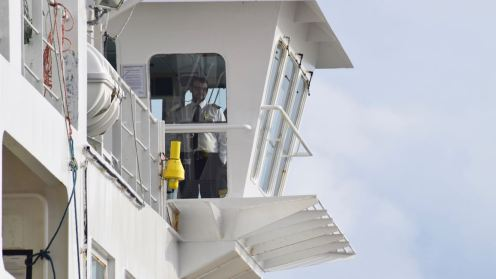 The Skipper stands on the wings of the bridge