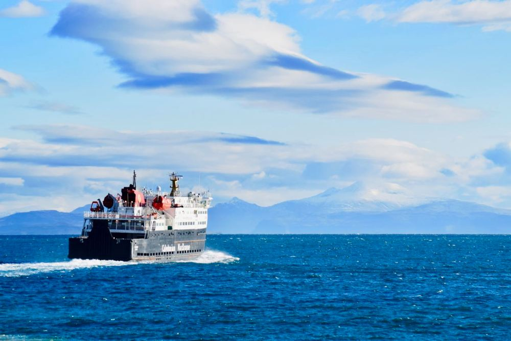 MV Clansman with Ben More as a backdrop and the sky a picture in itself