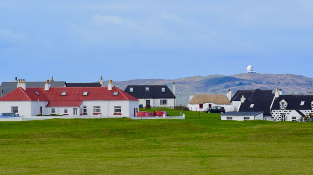 Scarinish Post Office looking to Ben Hynish
