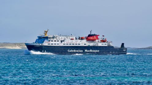 The MV Clansman passing through the Sound outbound for Castlebay, Barra.