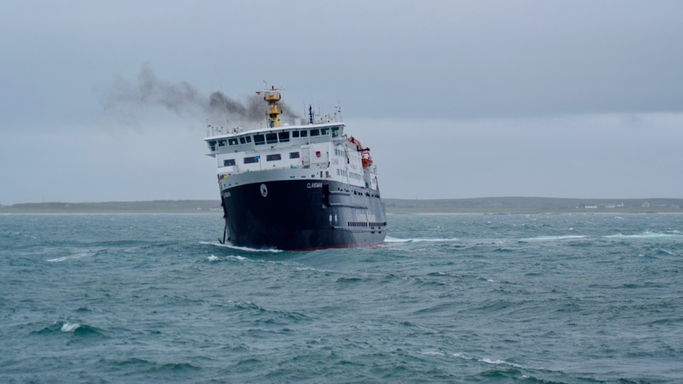 The MV Clansman turns in order to berth