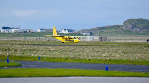 The Hebridean 'Islander' lands at Tiree Airport on the Reef