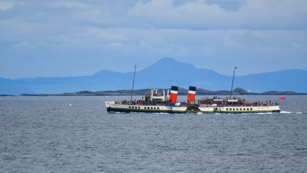 The Waverley in the Gunna Sound with the mountains on the mainland for a backdrop