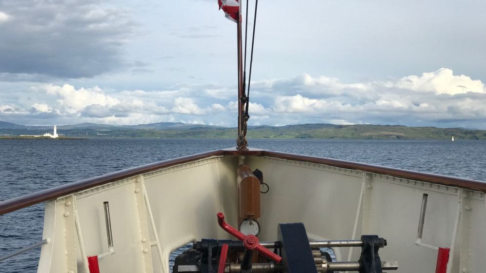 We look across Waverley's Bow to Lismore Lighthouse and Lady Rock Light