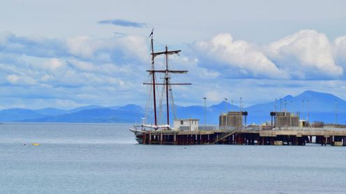 The Flying Dutchman alongside the old pier in Gott Bay