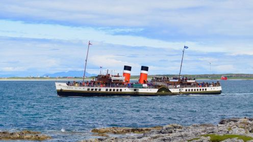 The Paddle Steamer Waverley in Gott Bay - not the usual means of transport