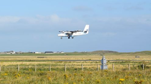 The last of Saturday's three flights arriving at Tiree Airport from Glasgow International Airport