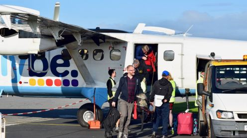 Passengers arriving at Tiree Airport
