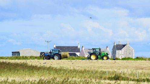Bales being collected