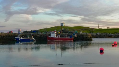 Two of the island's fishing boats