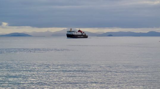 The MV Clansman set against the Mountains on Mull