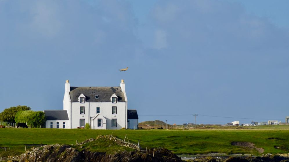 The Air Ambulance makes its final approach to Tiree Airport
