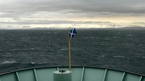Looking across the bow towards Mull