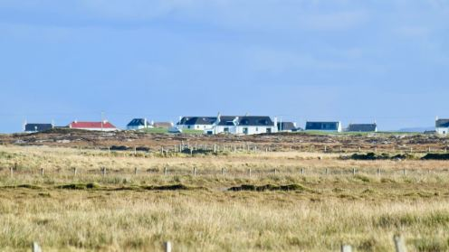 Looking towards Scarinish - Red Roof of the Post Office