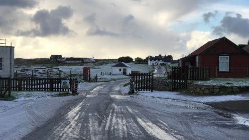 A hail covered road at Scarinish