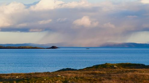 A snow shower strikes part of the Isle of Mull