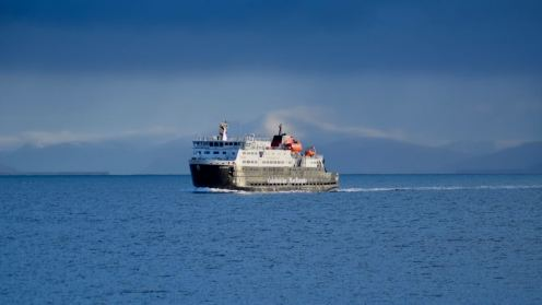 The MV Clansman with a hazy Ben More for a background