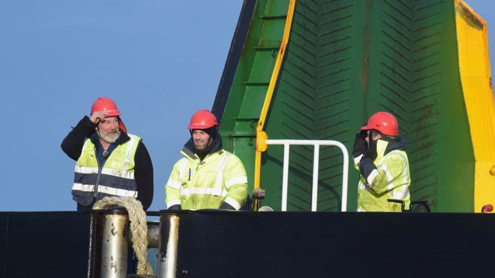 The crew at the stern