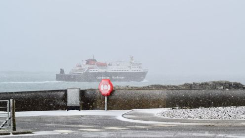 MV Clansman head out to sea in a blizzard