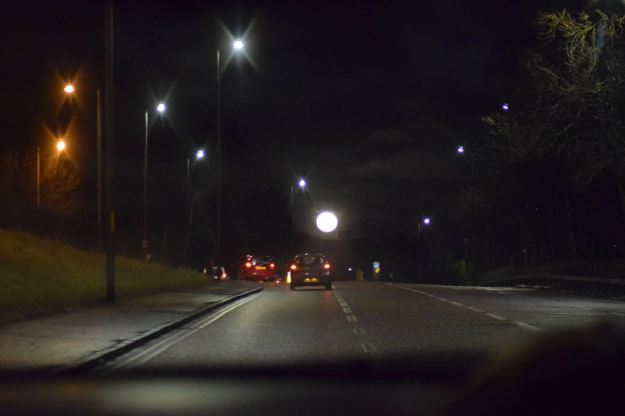 The Full Moon as seen while driving through Dundee