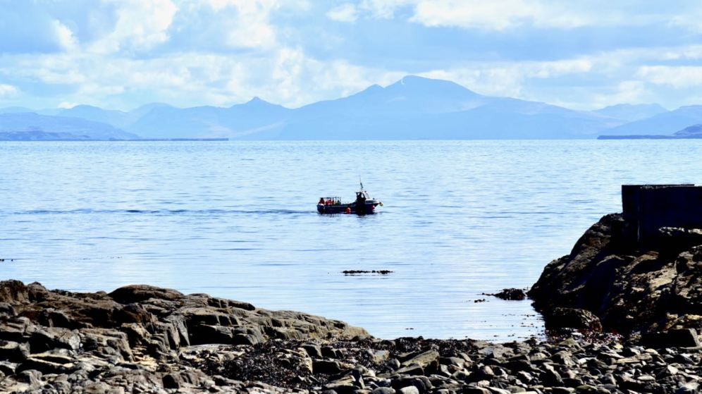 Atlantic Roar of Tiree Lobster and Crab with Ben More on Mull as a backdrop