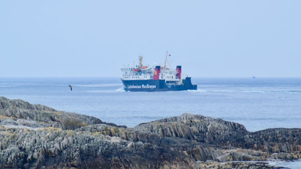 MV Lord of the Isles heads out into the Little Minch bound for Castlebay, Barra