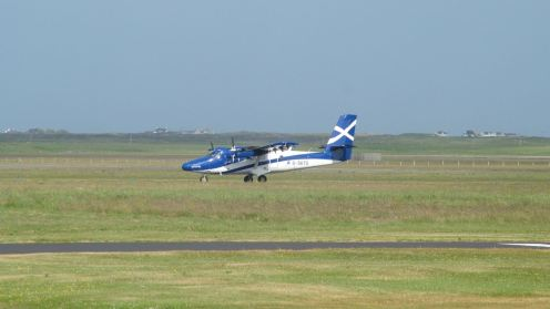 The plane with our visitors on board taxing to the stand at Tiree Airport