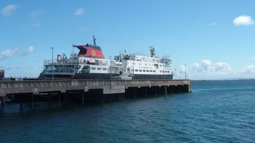The MV Clansman at the pier - blue sky prevails