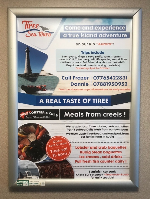On board advertising for Tiree businesses