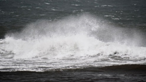 High tide and wild water at Sgor Beag by the pier