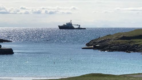 The NLB vessel the 'Pharos' anchored off Scarinish Old Harbour