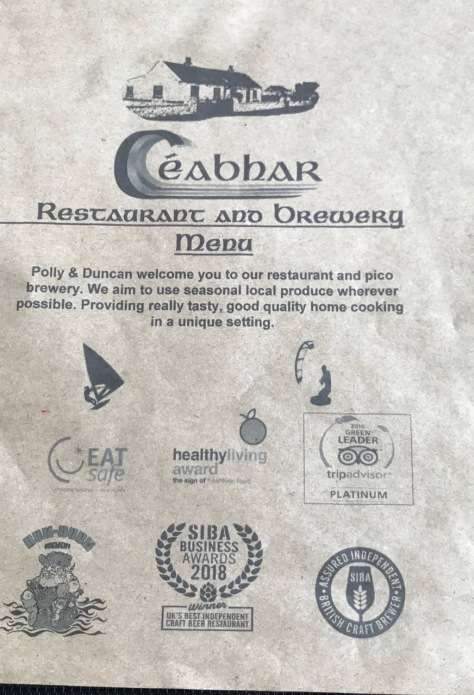 The menu cover from Ceabhar Restaurant